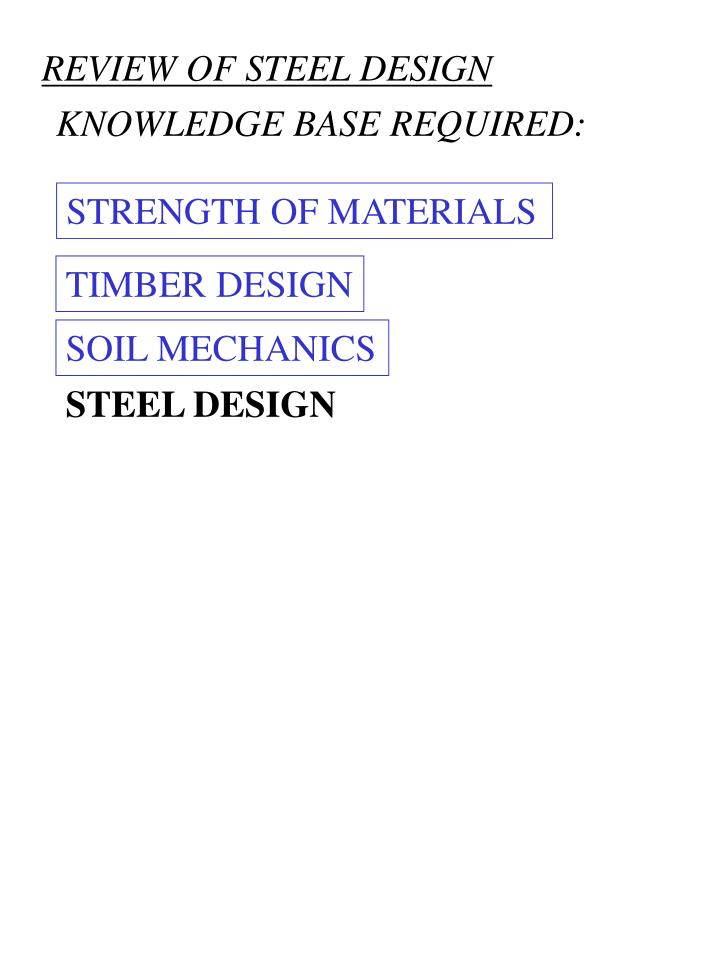 REVIEW OF STEEL DESIGN