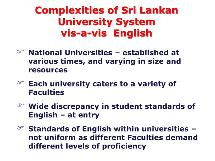 Complexities of Sri Lankan University System