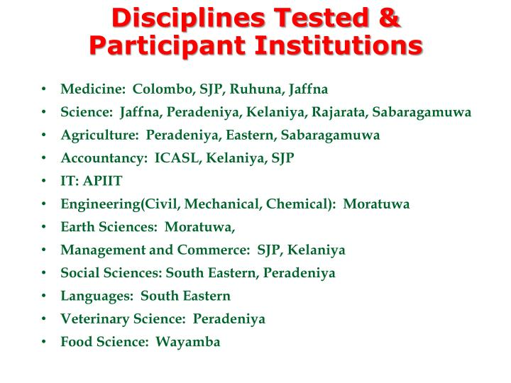 Disciplines Tested & Participant Institutions