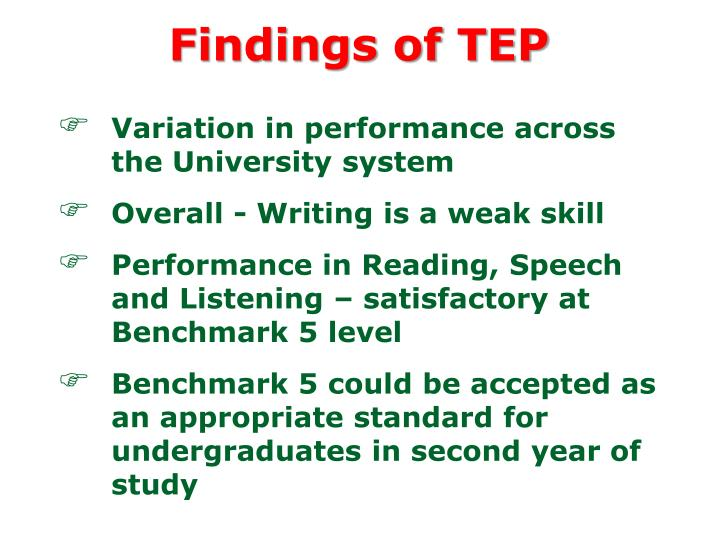 Findings of TEP