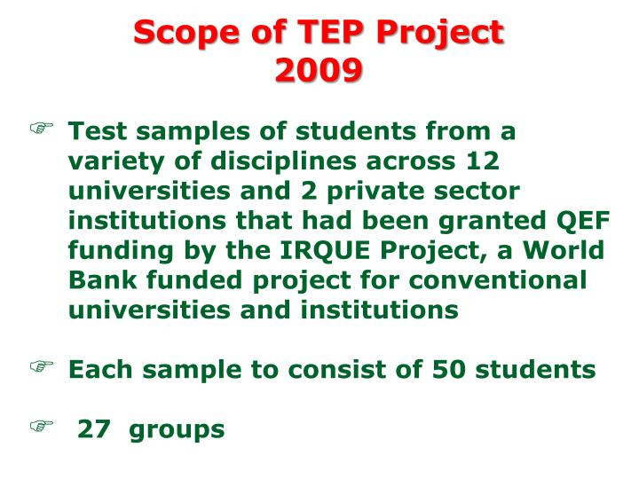 Scope of TEP Project