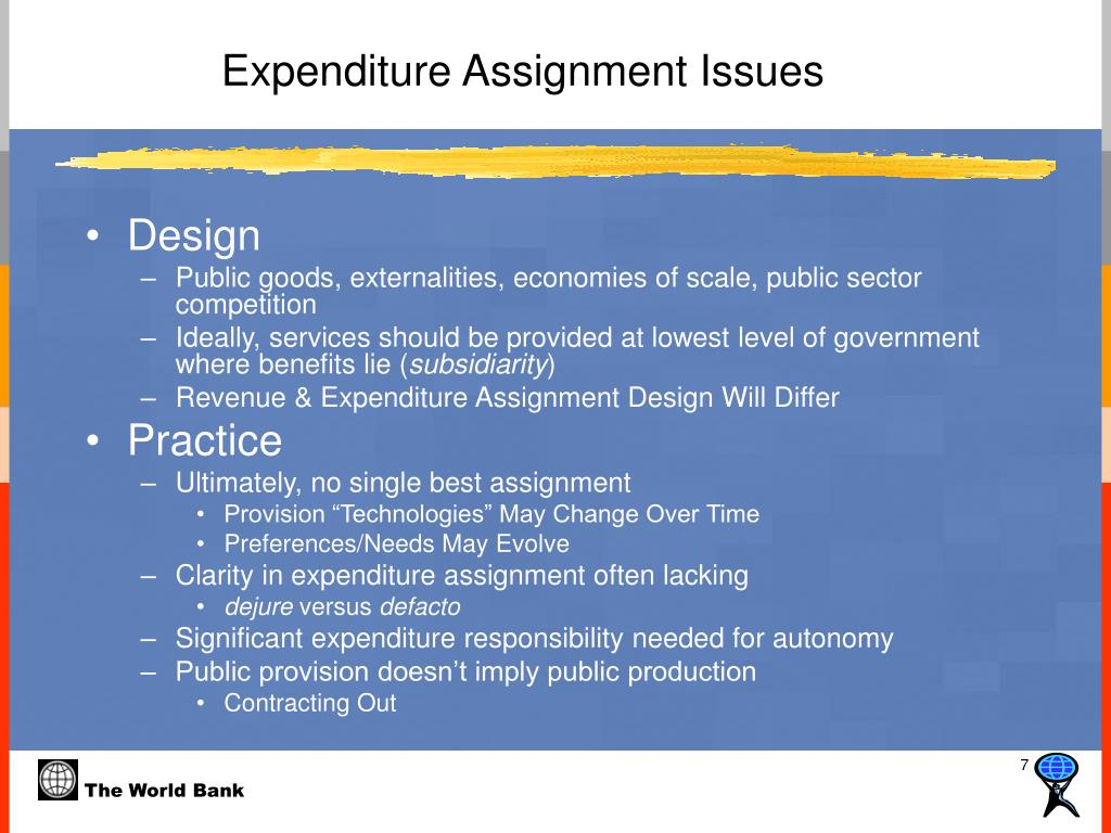 Expenditure Assignment Issues