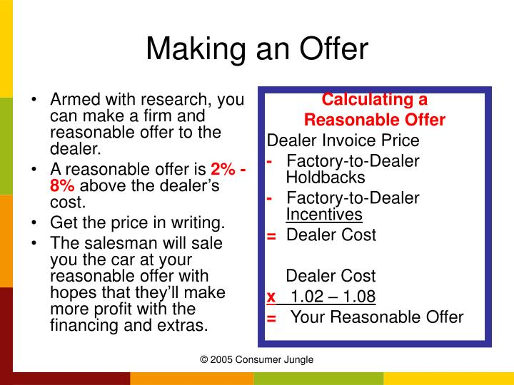 Armed with research, you can make a firm and reasonable offer to the dealer.
