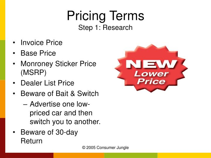 Pricing Terms