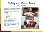safety and crash tests step 1 research