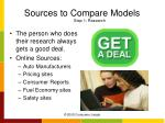 sources to compare models step 1 research