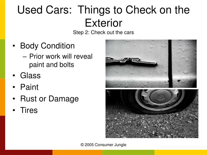 Used Cars:  Things to Check on the Exterior