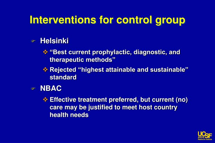 Interventions for control group