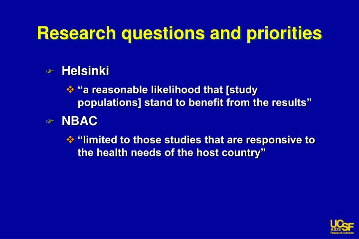 Research questions and priorities