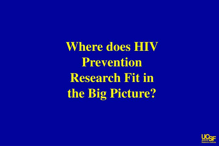 Where does HIV Prevention Research Fit in the Big Picture?