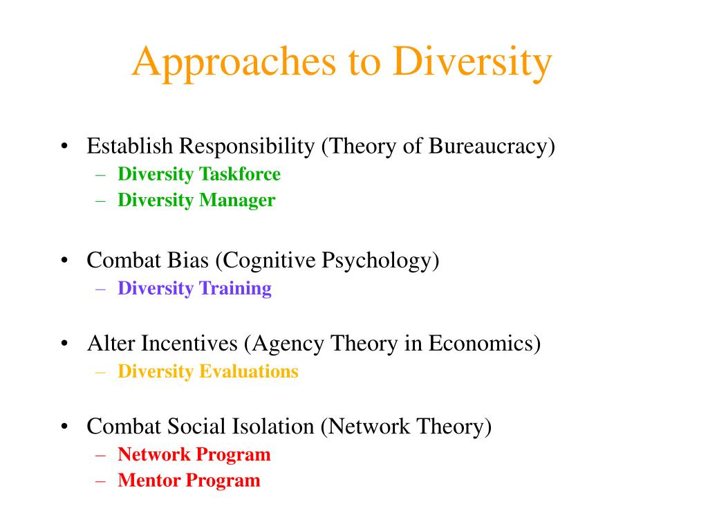 Approaches to Diversity