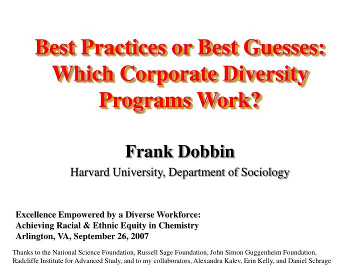 Best practices or best guesses which corporate diversity programs work