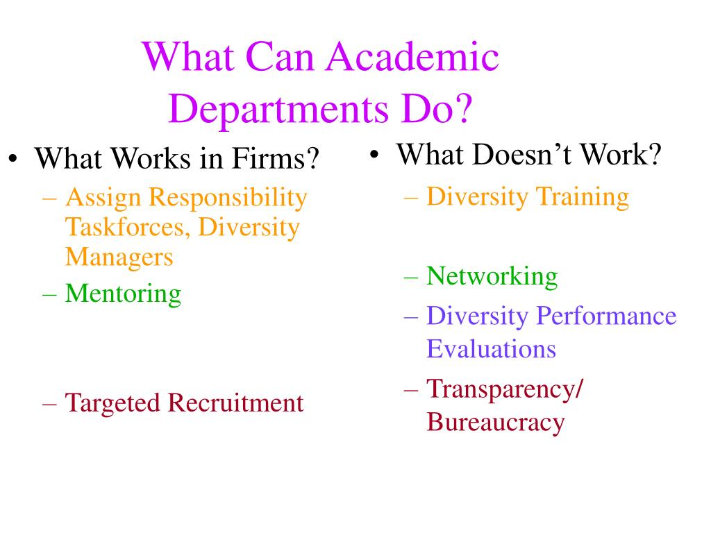 What Can Academic Departments Do?