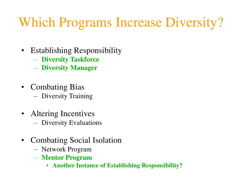 Which Programs Increase Diversity?