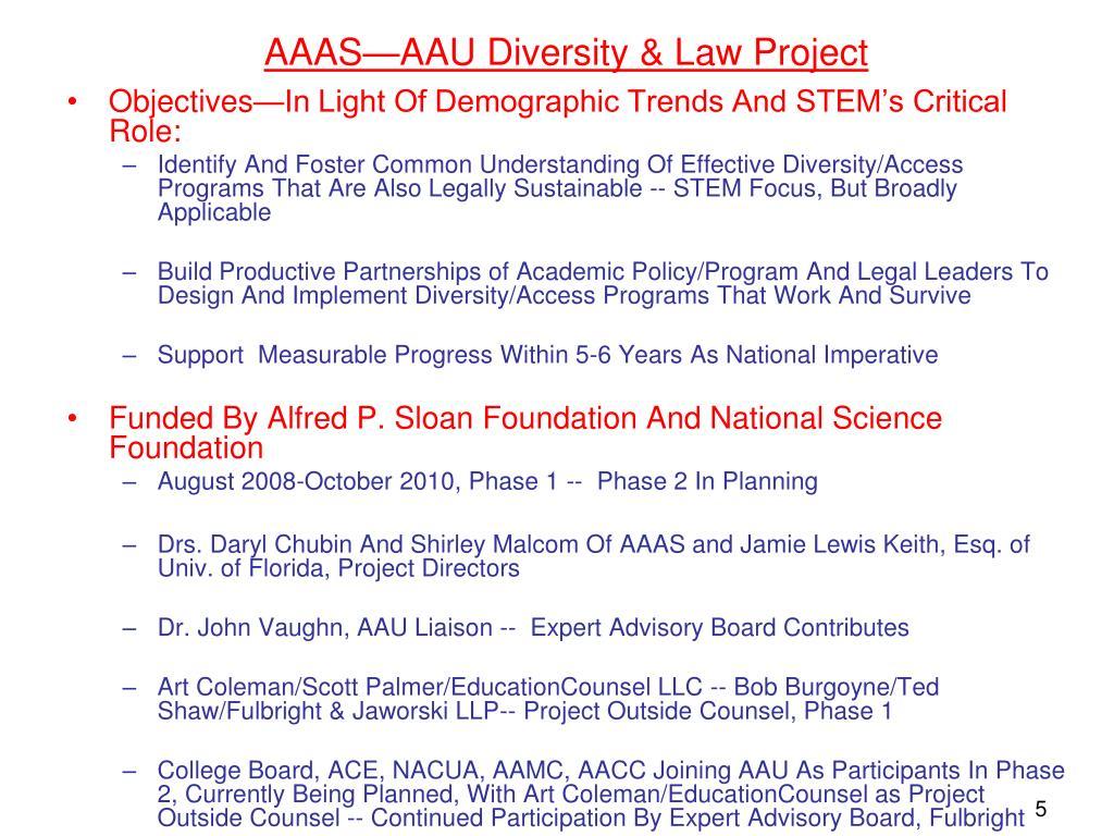 AAAS—AAU Diversity & Law Project