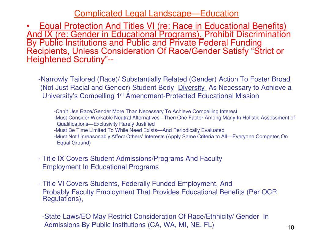 Complicated Legal Landscape—Education