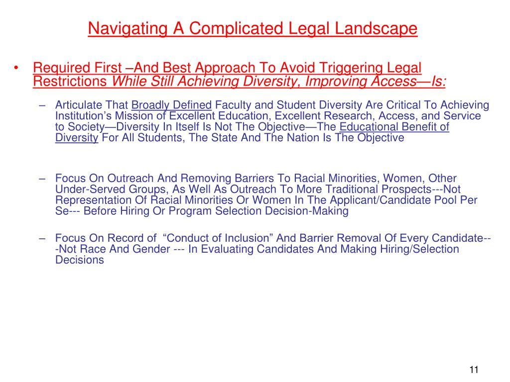 Navigating A Complicated Legal Landscape