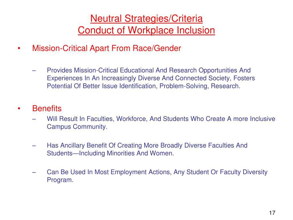 Neutral Strategies/Criteria