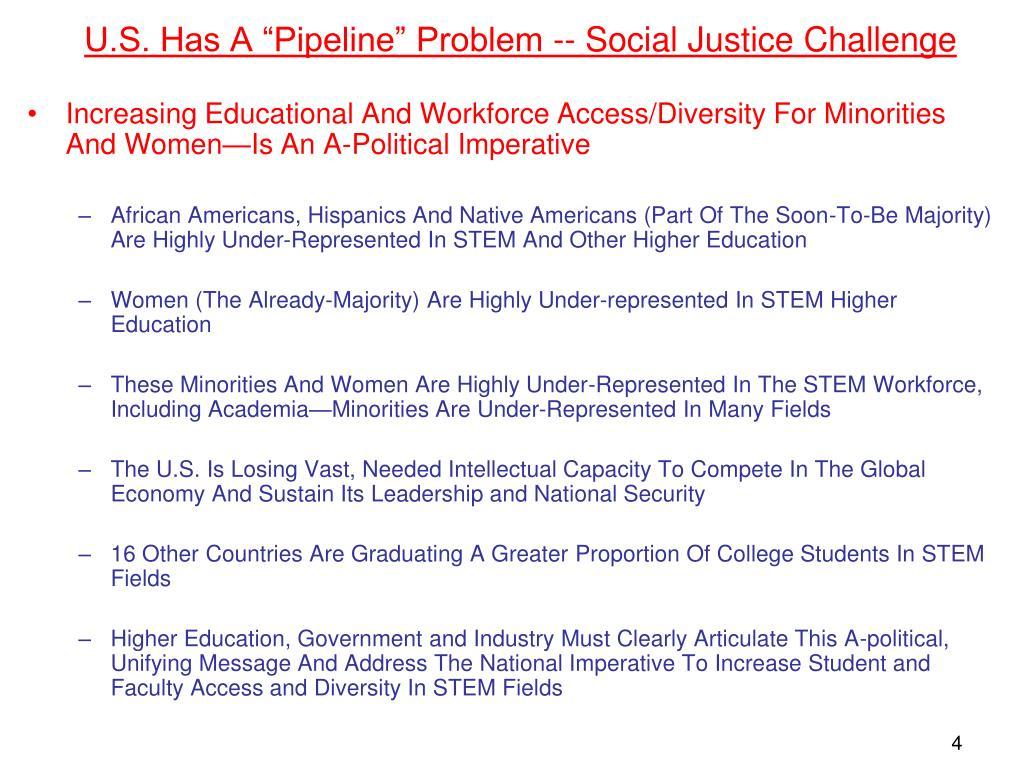 "U.S. Has A ""Pipeline"" Problem -- Social Justice Challenge"