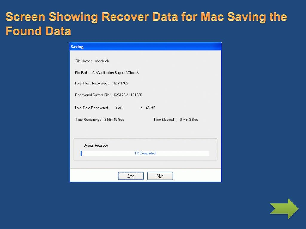 Screen Showing Recover Data for Mac Saving the Found Data
