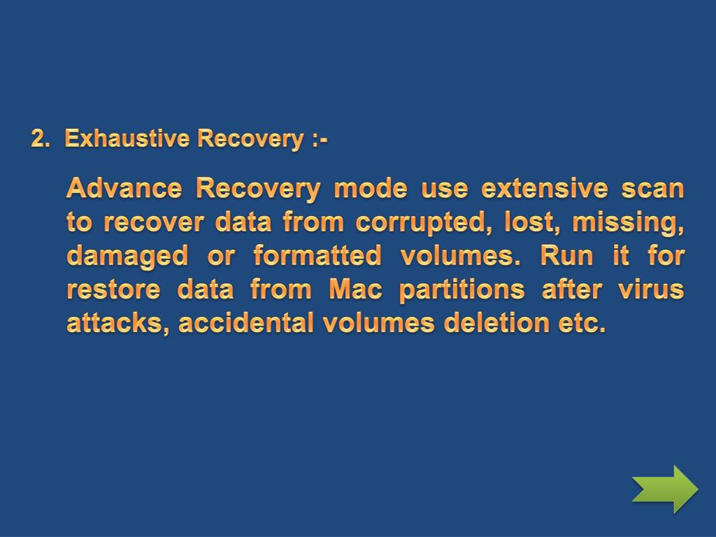 2.  Exhaustive Recovery :-