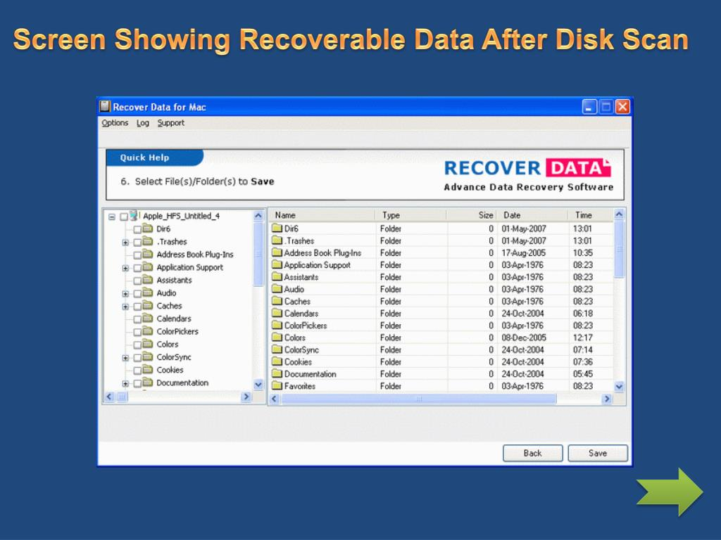 Screen Showing Recoverable Data After Disk Scan