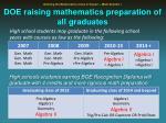 doe raising mathematics preparation of all graduates