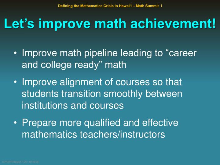 Let's improve math achievement!