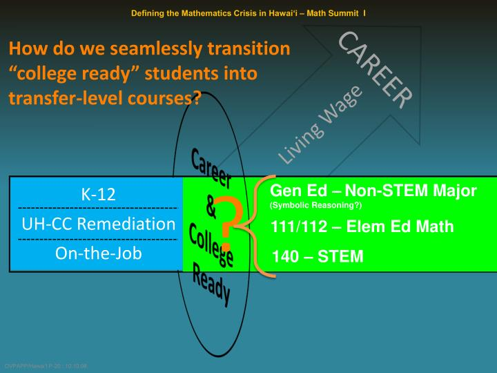 "How do we seamlessly transition ""college ready"" students into transfer-level courses?"