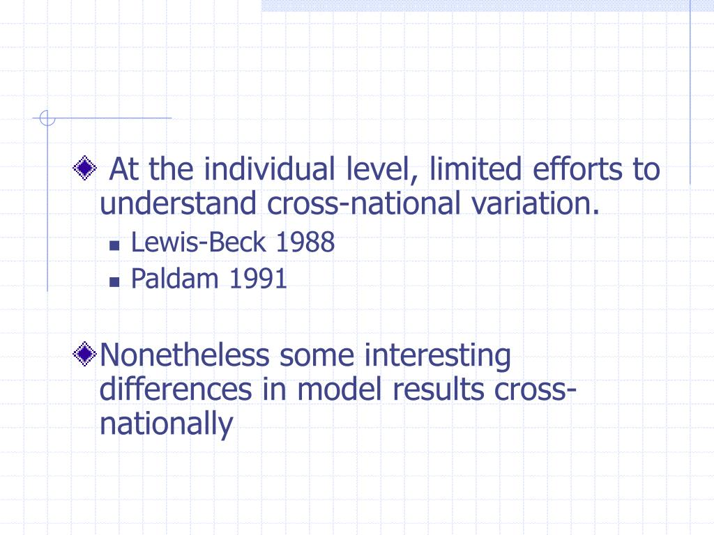At the individual level, limited efforts to understand cross-national variation.
