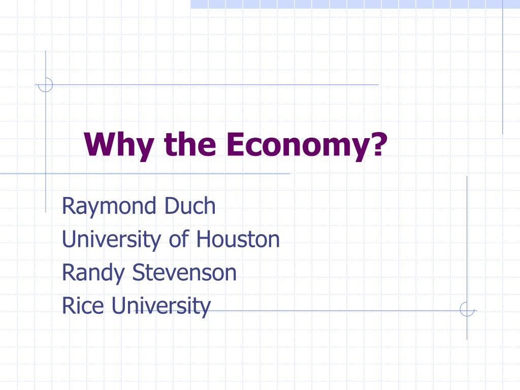 Why the Economy?