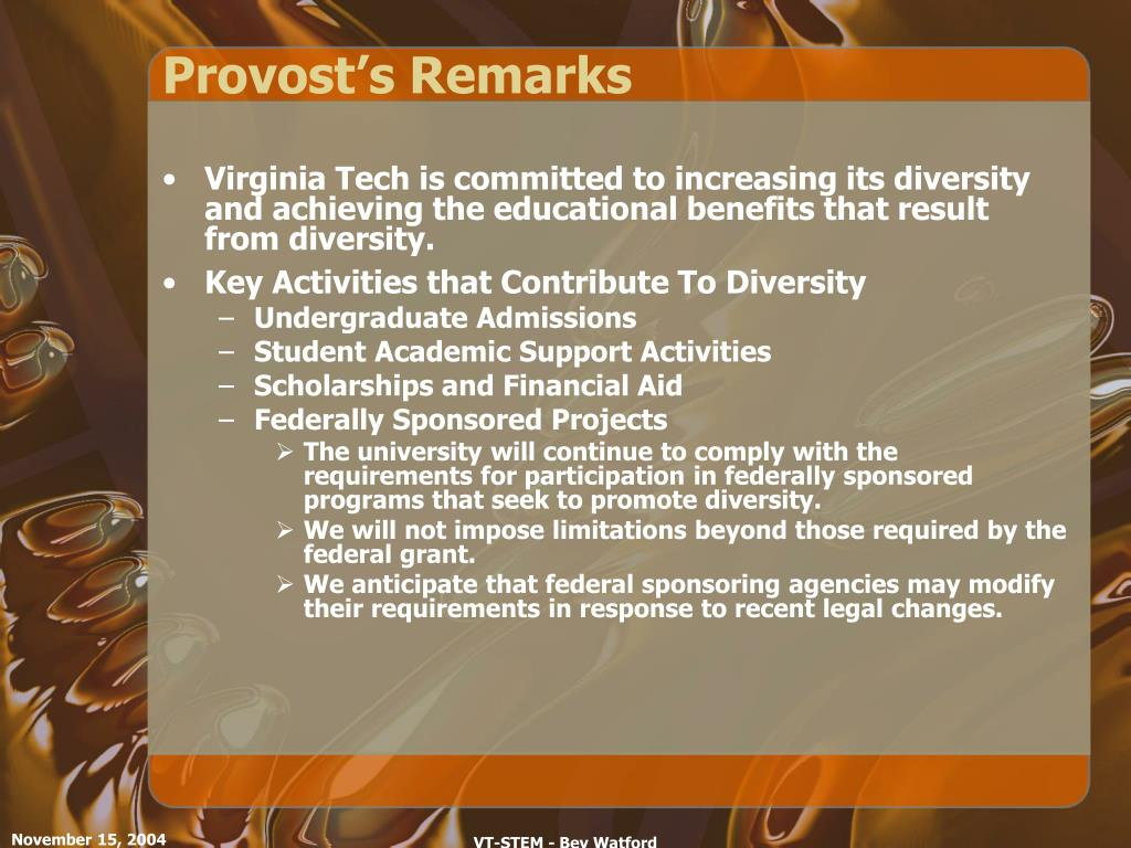 Provost's Remarks
