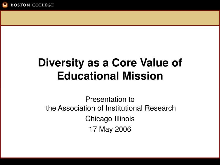 Diversity as a core value of educational mission