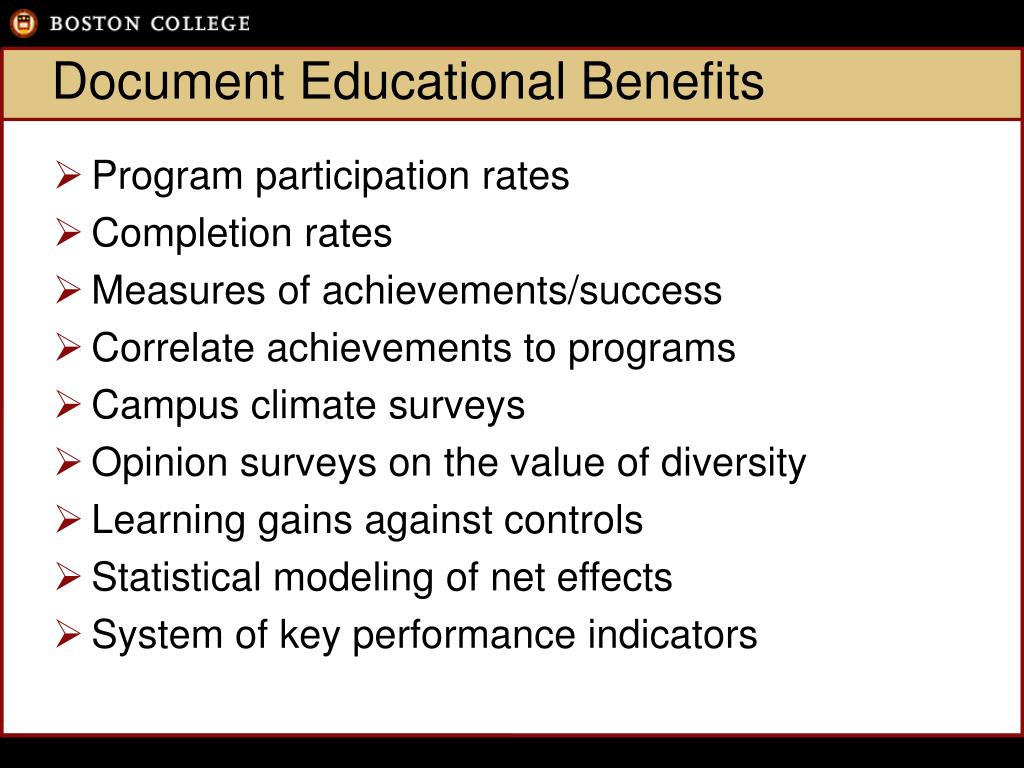 Document Educational Benefits
