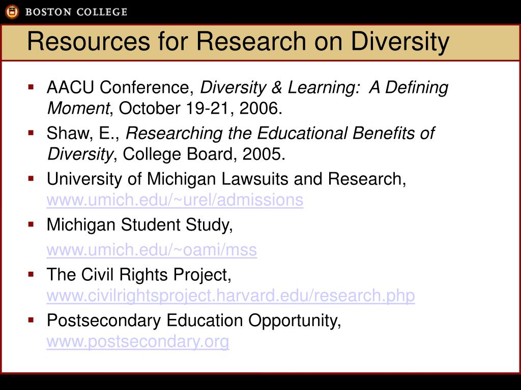 Resources for Research on Diversity