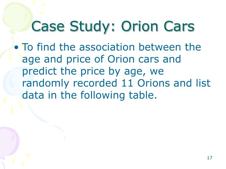 Case Study: Orion Cars
