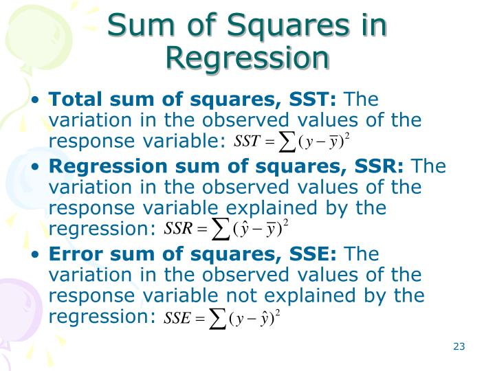 Sum of Squares in Regression