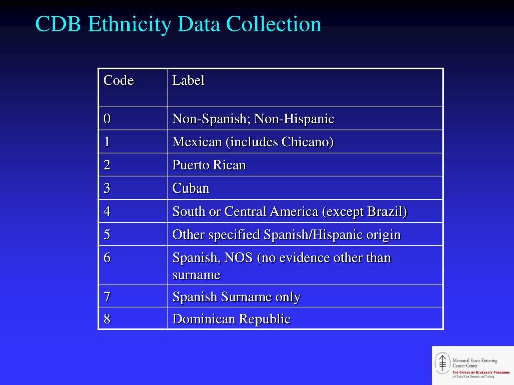 CDB Ethnicity Data Collection