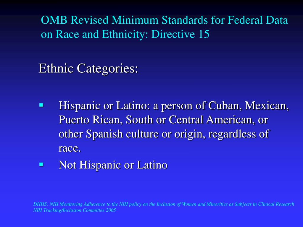 OMB Revised Minimum Standards for Federal Data on Race and Ethnicity: Directive 15