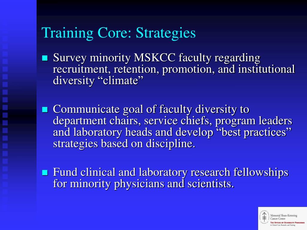 Training Core: Strategies