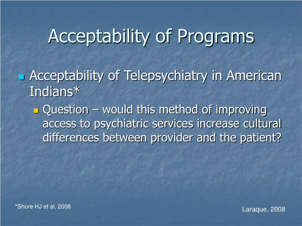 Acceptability of Programs