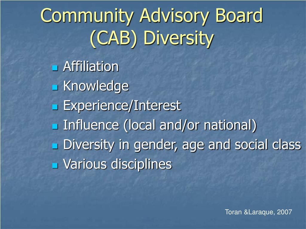Community Advisory Board (CAB) Diversity