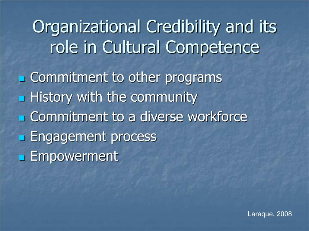 Organizational Credibility and its role in Cultural Competence