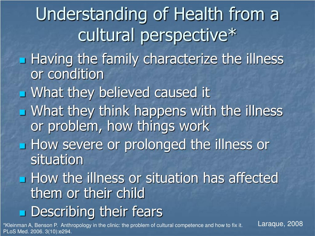 Understanding of Health from a cultural perspective*