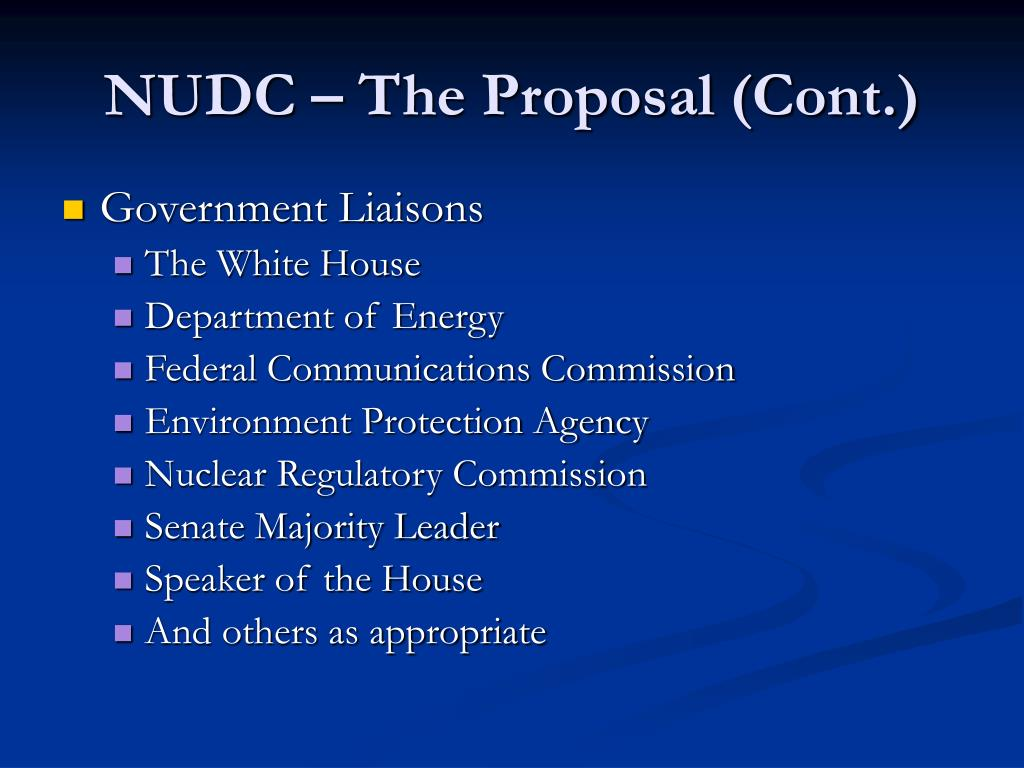 NUDC – The Proposal (Cont.)