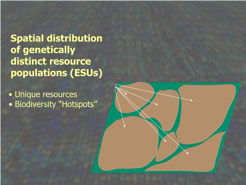 Spatial distribution of genetically distinct resource populations (ESUs)