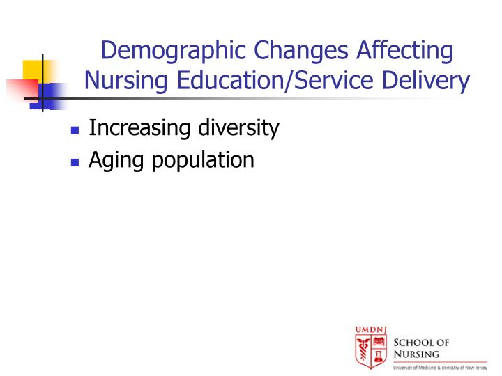 Demographic changes affecting nursing education service delivery l.jpg