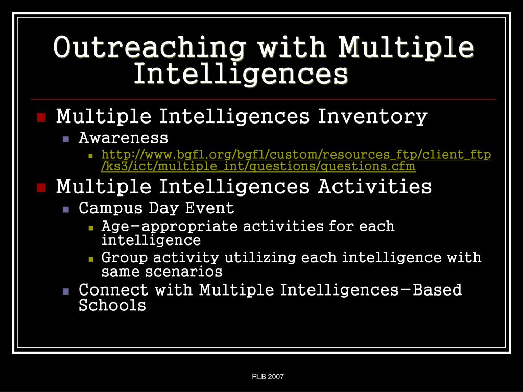 Outreaching with Multiple Intelligences