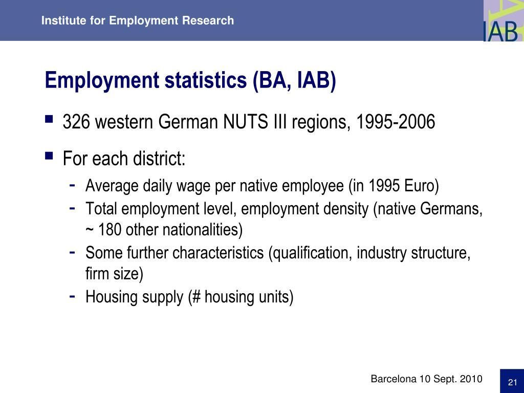 Employment statistics (BA, IAB)