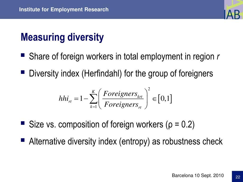 Measuring diversity
